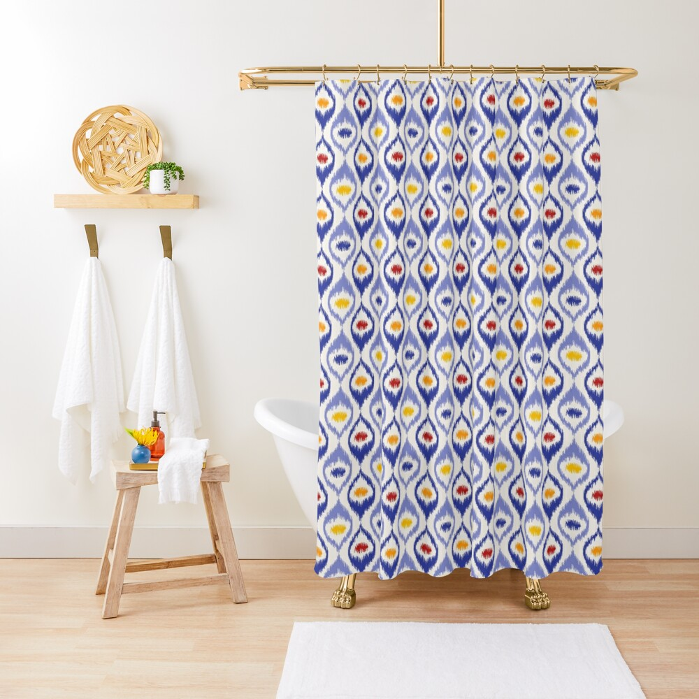 Ikat pattern, blue ogee shapes with red, yellow, orange Shower Curtain