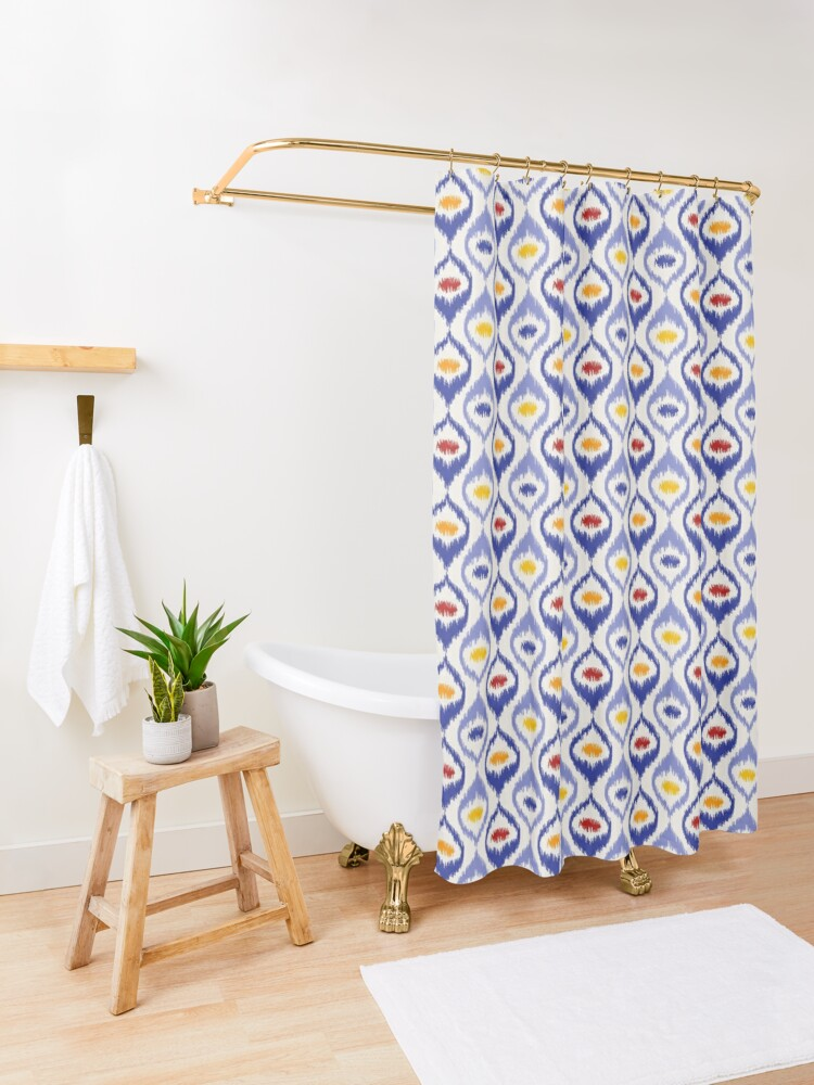 Alternate view of Ikat pattern, blue ogee shapes with red, yellow, orange Shower Curtain