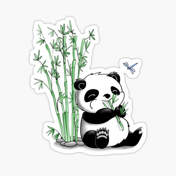 Panda comiendo bambú Pegatina