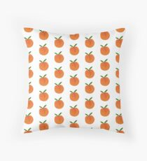 Peach Hand-Painted in Coral Orange Floor Pillow