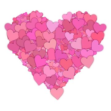 Love Hearts Pink Red Pattern by rubina