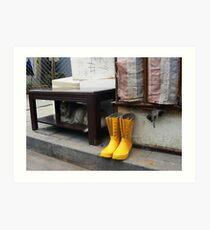 Yellow boots Art Print