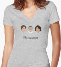The Supremes (3, with eyes, white text) Women's Fitted V-Neck T-Shirt