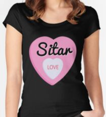 Sitar  Love Valentine's Day Hearts  Women's Fitted Scoop T-Shirt