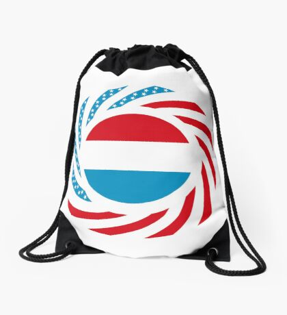 Luxembourgish American Multinational Patriot Flag Series Drawstring Bag