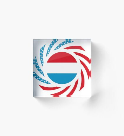 Luxembourgish American Multinational Patriot Flag Series Acrylic Block