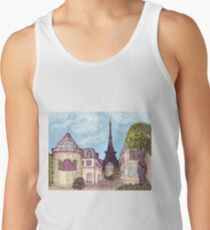 Paris Eiffel Tower inspired impressionist landscape by Kristie Hubler Tank Top