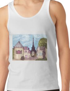 Paris Eiffel Tower inspired impressionist landscape by Kristie Hubler Tank Top