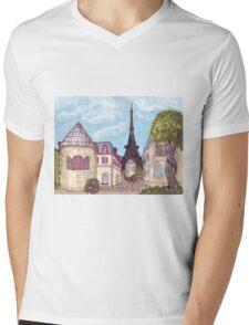 Paris Eiffel Tower inspired impressionist landscape by Kristie Hubler Mens V-Neck T-Shirt