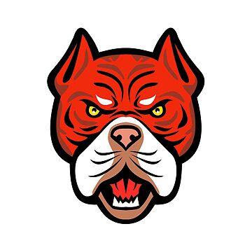 Red Tiger Bulldog Head Front Mascot by patrimonio