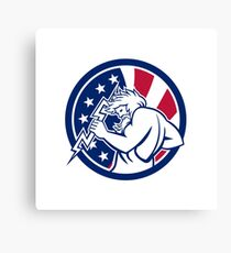 Zeus With Thunderbolt USA Flag Icon Canvas Print