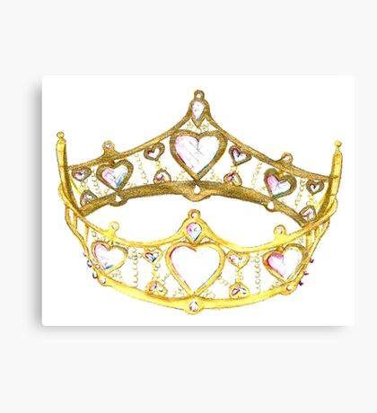 Queen of Hearts gold crown tiara by Kristie Hubler Canvas Print