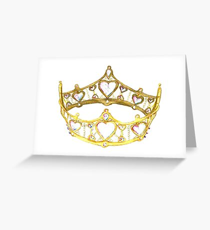 Queen of Hearts gold crown tiara by Kristie Hubler Greeting Card