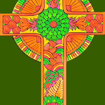 Green and Orange Celtic Cross by Alondra