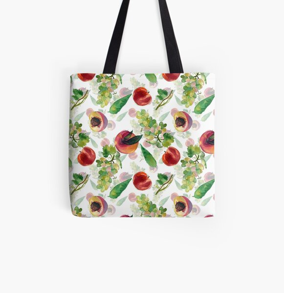 grapes and peaches All Over Print Tote Bag