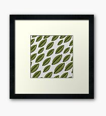 Seamless sample with leaves on gray background.  Framed Print