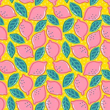 Retro pattern with pink lemon. by SIR13