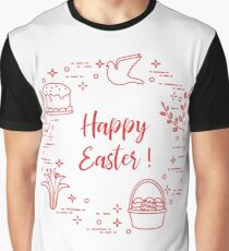 Easter cake, willow, lily,candle,dove,basket,eggs. Graphic T-Shirt