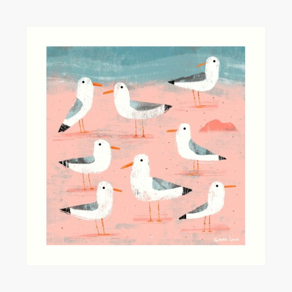 Seagulls on the Shore Art Print