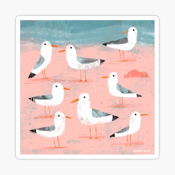 Seagulls on the Shore Sticker