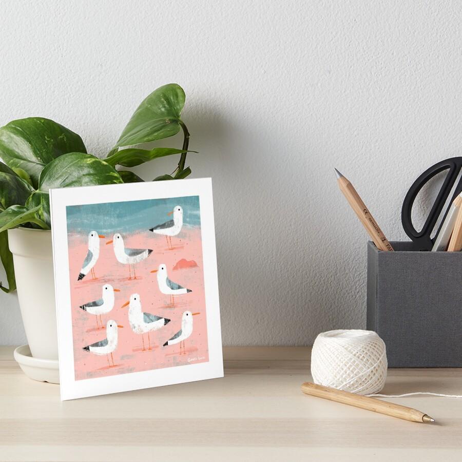 Seagulls on the Shore Art Board Print
