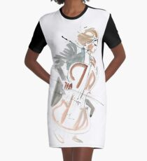 Cello Player Musician Expressive Drawing Graphic T-Shirt Dress