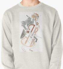 Cello Player Musician Expressive Drawing Pullover Sweatshirt