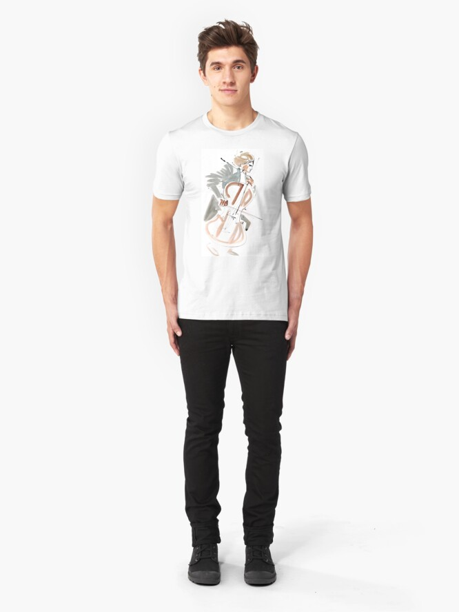 Alternate view of Cello Player Musician Expressive Drawing Slim Fit T-Shirt