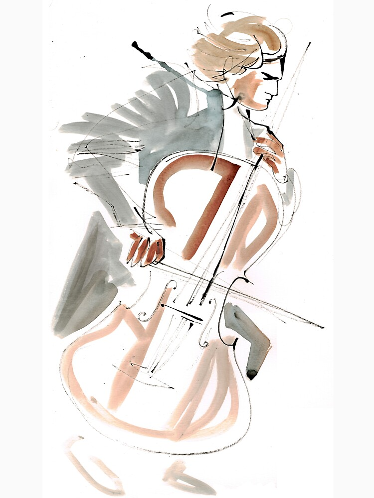 Cello Player Musician Expressive Drawing by CatarinaGarcia
