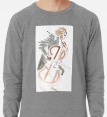 Cello Player Musician Expressive Drawing Lightweight Sweatshirt