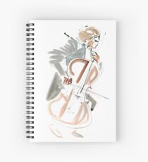 Cello Player Musician Expressive Drawing Spiral Notebook