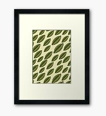 Seamless decorative template texture with green leaves beige background.  Framed Print