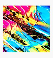 The 80s Retro Dream Ice Cream - Blue Pink and Yellow Paint on Canvas Photographic Print