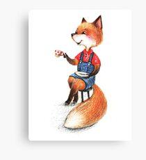Fox and coffee Canvas Print