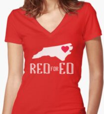 Red for Ed North Carolina Teacher Protest Public Education 2018 Women's Fitted V-Neck T-Shirt