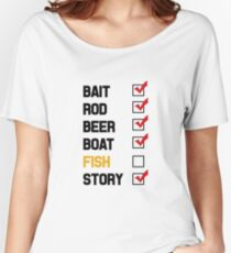 Bait Rod Beer Boat Fish Story Women's Relaxed Fit T-Shirt