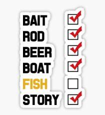 Bait Rod Beer Boat Fish Story Sticker