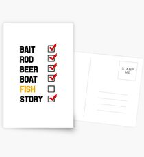 Bait Rod Beer Boat Fish Story Postcards