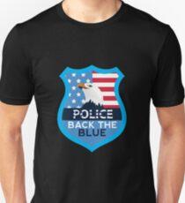 Police Brave Back the Blue USA Eagle Flag Badge Unisex T-Shirt