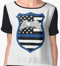 Police Badge Thin Blue Line Crest Eagle Protect Chiffon Top
