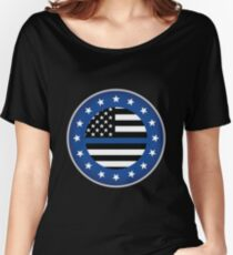 Thin Blue Line Police USA Crest Star Badge Award Women's Relaxed Fit T-Shirt