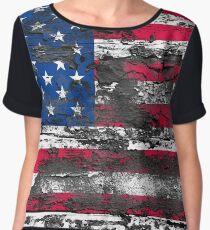 Vintage Grunge USA Flag Chiffon Top