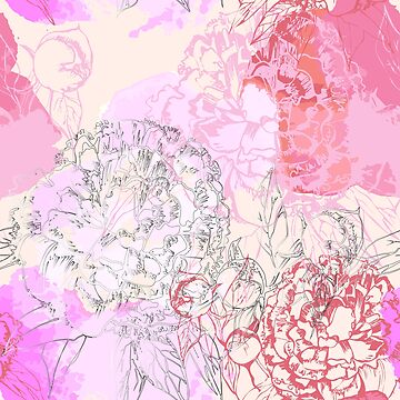 Pink seamless pattern with peonies. by mnimpres