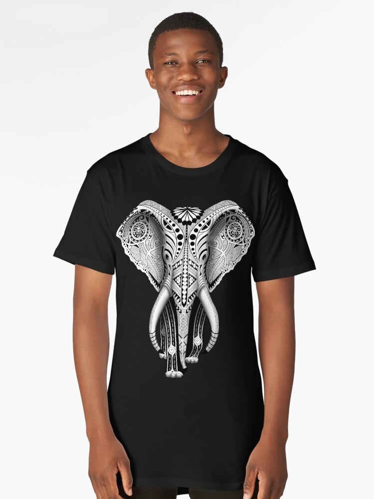 Ivory Maori Tribal Elephant Long T-Shirt Front