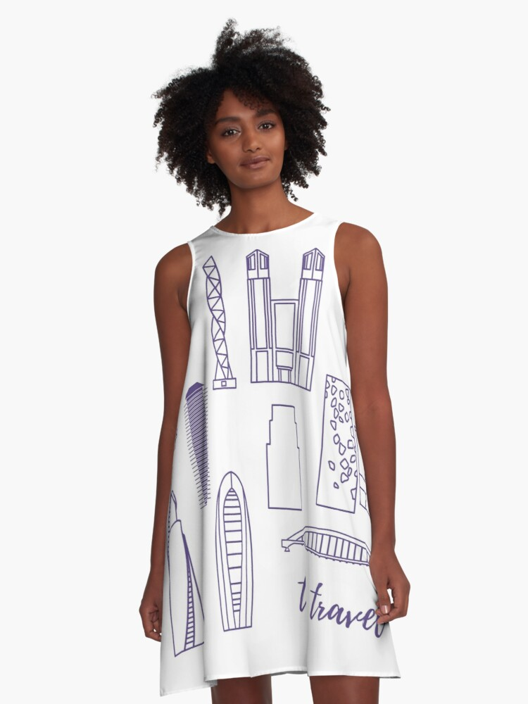 Unusual Japanese architecture. Travel and leisure. A-Line Dress Front