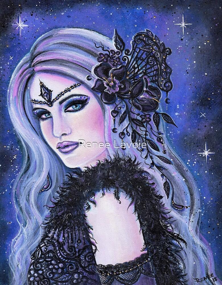 Black Orchid fantasy portrait by Renee L Lavoie by Renee Lavoie