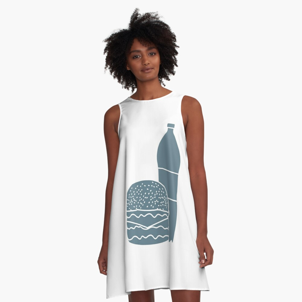 Burger and bottle of soda water. A-Line Dress Front