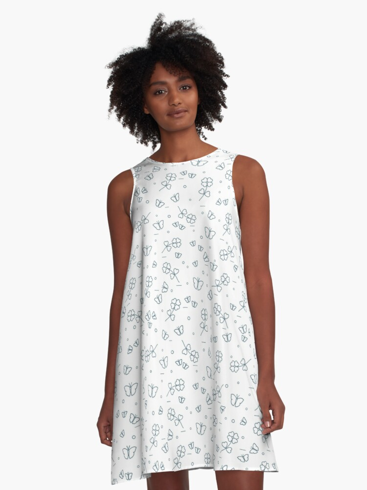 Seamless pattern with shamrock and butterflies. A-Line Dress Front