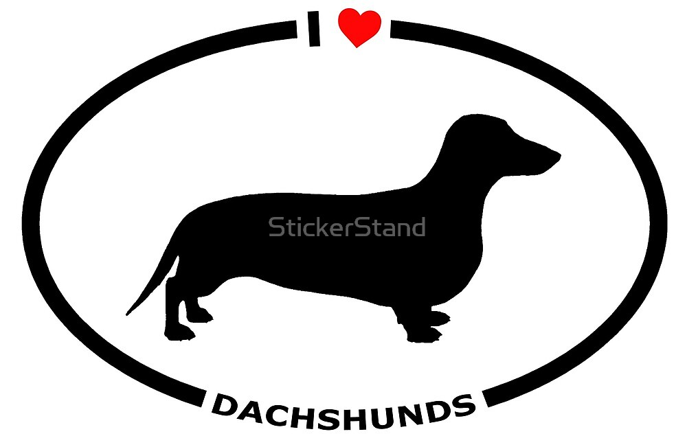I Heart Dachshunds Sticker for Dog Lovers by StickerStand