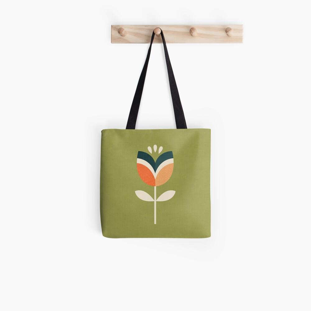 Retro Tulpe - Orange und Olivgrün Stofftasche